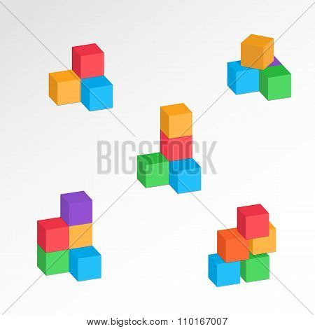 Set of 3d cube combinations. Compositions of tree, five blocks. Association, union, join, building,