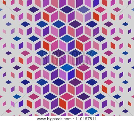 Vector Seamless Geometric Outlined Cube Grid Isometric Red Blue Pink Pattern