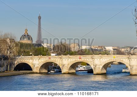 The Pont-Neuf and the Eiffel Tower in Paris, France