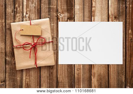 Gift Box With Tag And Blank Greeting Card
