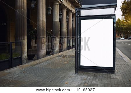 Empty poster in urban setting
