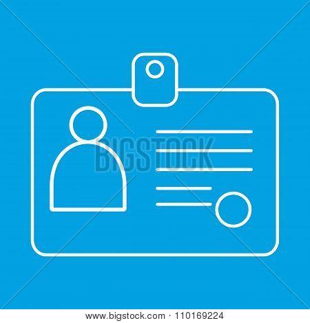 Identification card thin line icon
