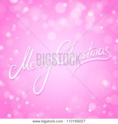 Pink Merry Christmas Card with Shiny Background