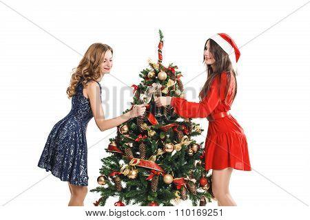 fashion woman hanged a on the Christmas tree