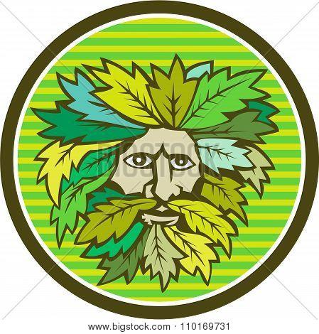 Green Man Foliate Head Circle Retro