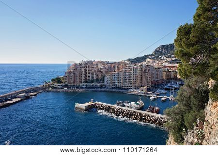 View Of Monaco Port In Fontvielle From The Village
