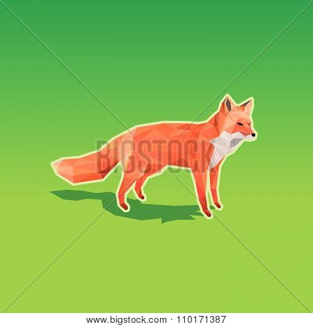 Red fox in low poly style on green background - resizable polygonal vector illustration.