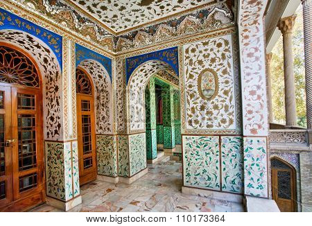 Traditional Persian Design Of The Palace Golestan With Painted Walls, Tiles And Wooden Doors, Tehran