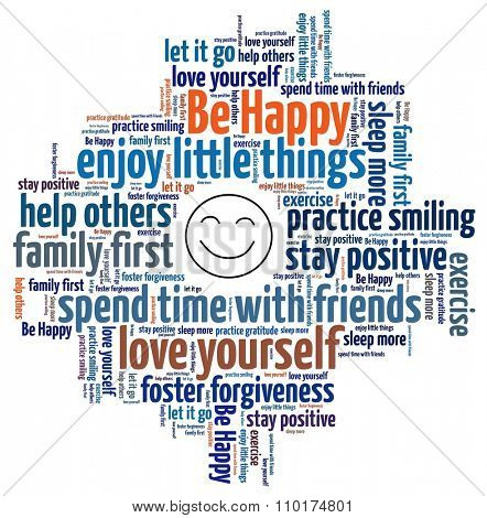 Be Happy concept in word collage