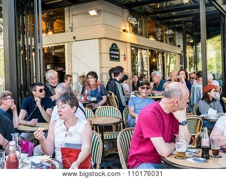 Busy Paris Cafe On August Day