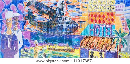 Mural of the history of the Cayman Islands