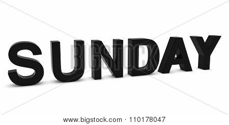Sunday Black 3D Text Isolated On White With Shadows