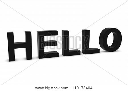 Hello Black 3D Text Isolated On White With Shadows