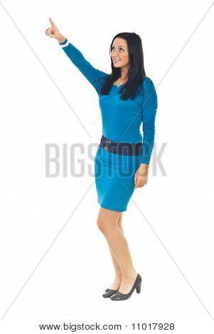 Elegant Woman Pointing Up