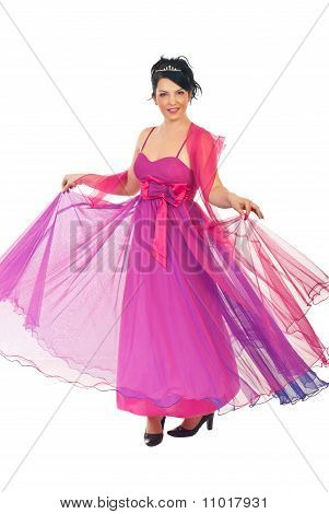 Woman Twirl Her Pink Dress