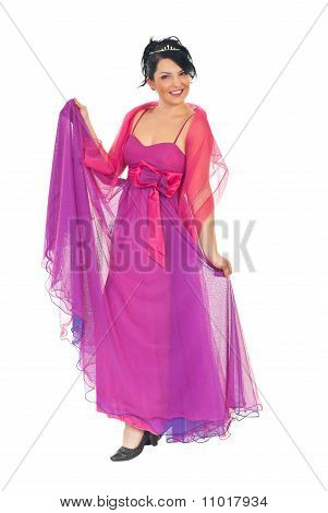 Attractive Model Woman In Pink-mauve Dress