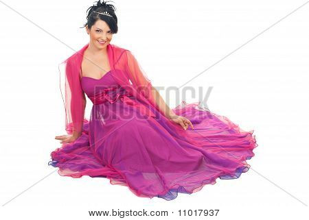 Elegant Woman Sitting On Floor