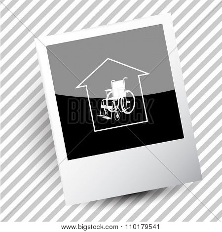 nursing home. Photoframe. Raster icon.