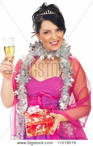 Elegant Woman At Christmas Party