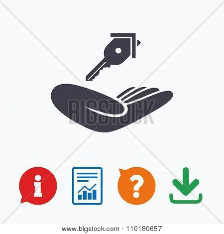 House insurance sign. Hand holds home key symbol