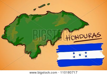 Honduras Map And National Flag Vector