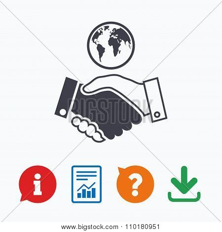 World handshake sign icon. Amicable agreement.