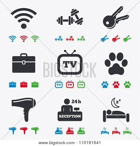 Hotel, apartment service icons. Wi-fi internet.