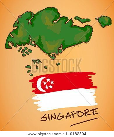 Singapore Map And National Flag Vector