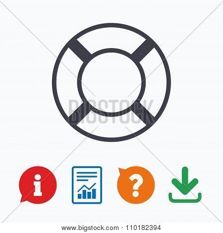 Lifebuoy sign icon. Life salvation symbol.