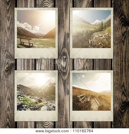 Instant polaroid photo on white backgrounds