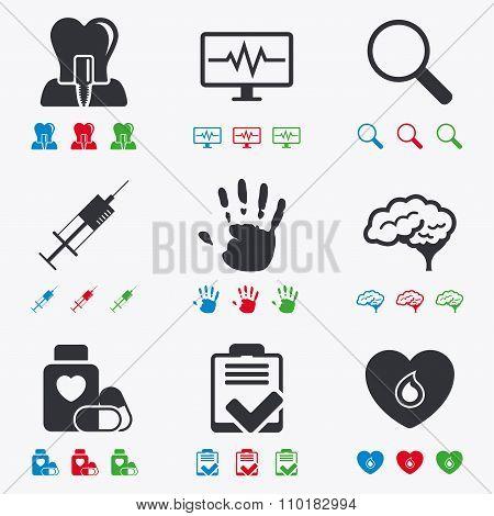 Medicine, medical health and diagnosis icons.