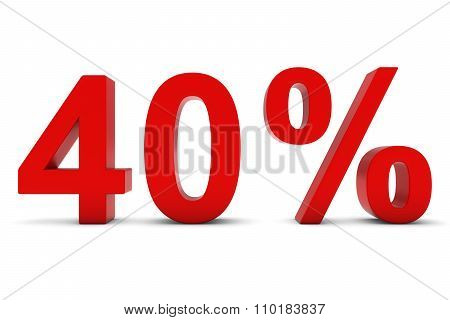 40% - Forty Percent Red 3D Text Isolated On White