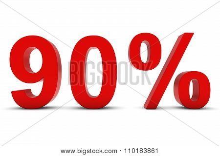 90% - Ninety Percent Red 3D Text Isolated On White