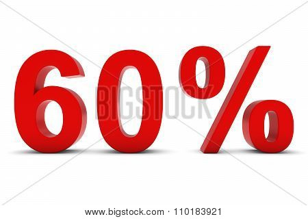 60% - Sixty Percent Red 3D Text Isolated On White