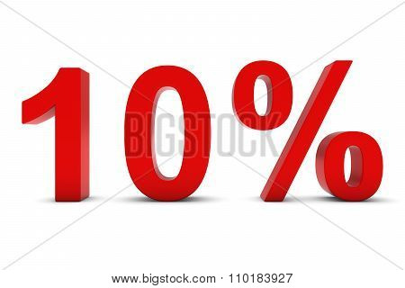 10% - Ten Percent Red 3D Text Isolated On White