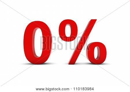 0% - Zero Percent Red 3D Text Isolated On White