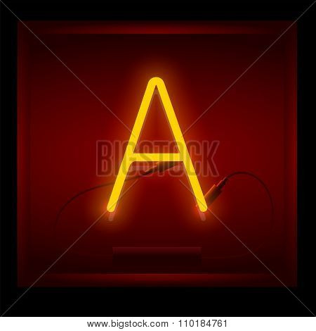 Realistic Neon Letter A Vector Illustration. Glowing Font.