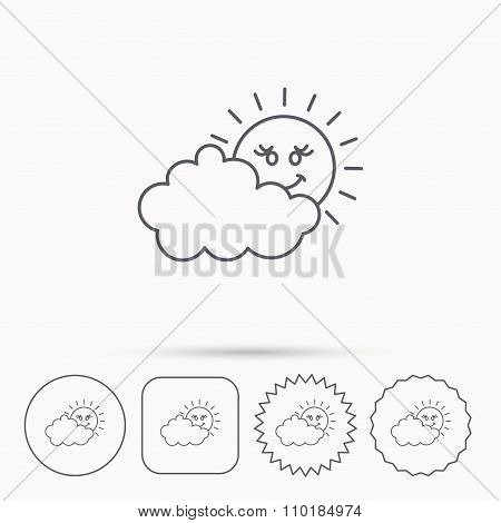 Cloudy day with sun icon. Overcast weather sign.