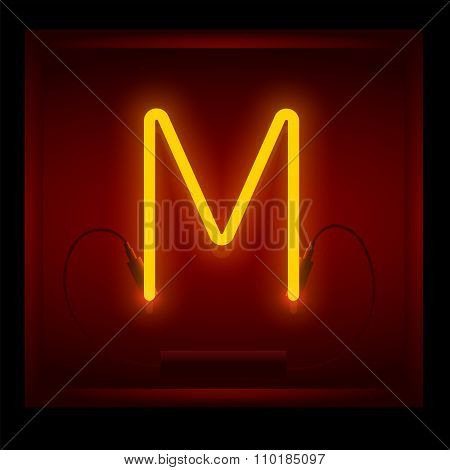 Realistic Neon Letter M Vector Illustration. Glowing Font.