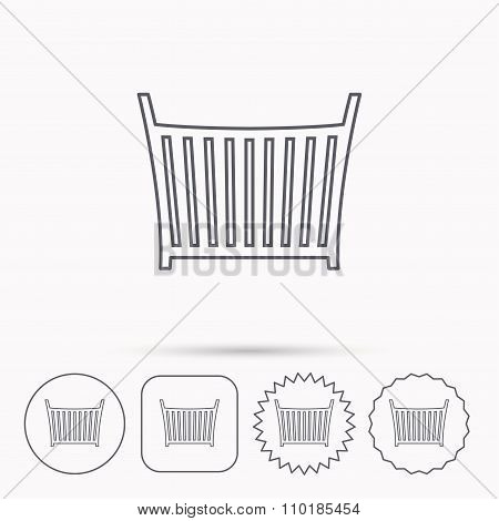 Baby crib bed icon. Cradle or cot sign.