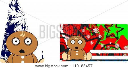 christmas gingerbread kid cartoon gift card