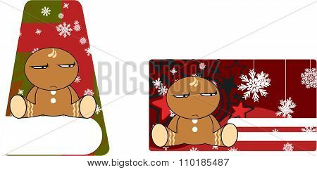 angry xmas gingerbread kid cartoon gift card