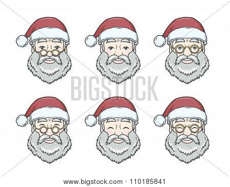 Set of smiling Santa Claus face with round glasses. Happy New Year design elements. Vintage Xmas mas