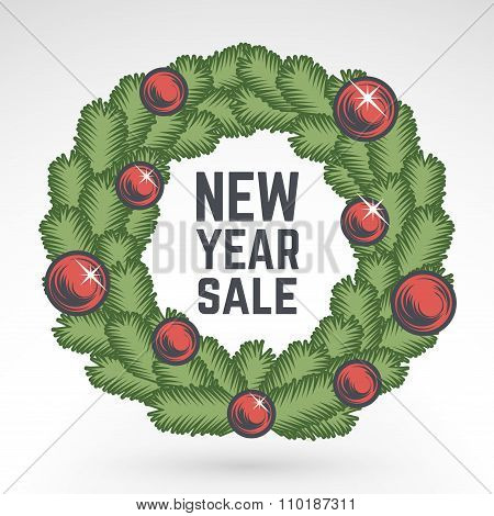 Merry Christmas green wreath vector design. Vintage happy New Year postcard. X-mas banner for party,