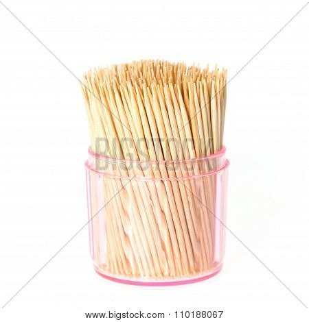 Toothpick In Clear Plastic Box Isolated On White Background