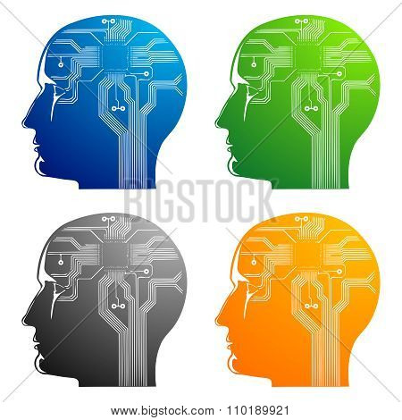 Vector Abstract illustration on human brain with processor inplant