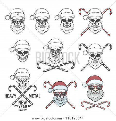 Big set of Santa Claus skulls with candy cones and glasses. New year logo insignia design elements.