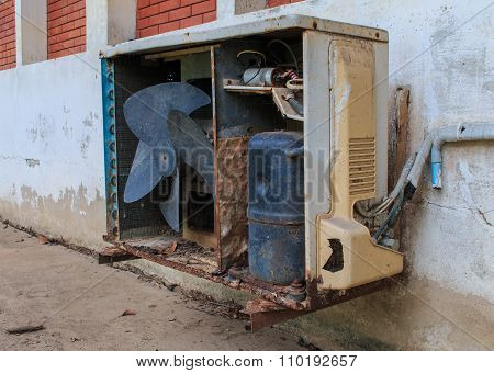 Old Rusty Air Conditioner Outdoor Unit