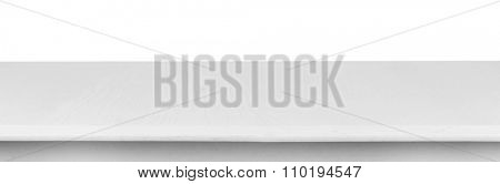 White wooden table on white background