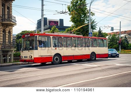 Old Fashioned Trolleybus In Vilnius, Lithuania